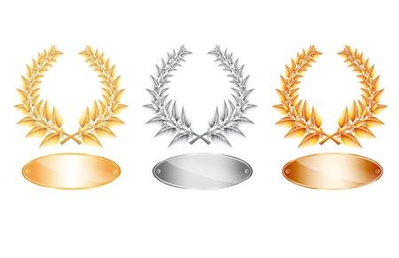 Oro plata y bronce corona de laurel y la etiqueta de texto de antigüedad u ganador del concurso en el fondo blanco. Foto de archivo - 21566088