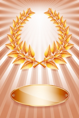 third birthday: Bronze award laurel wreath and label for jubilee text or competition winner over sun rays background.