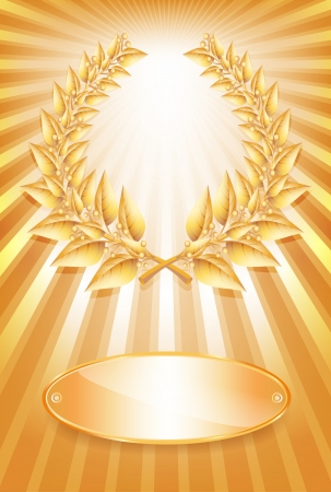 Gold award laurel wreath and label for jubilee text or competition winner over sun rays background.  Vector