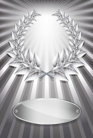 Silver award laurel wreath and label for jubilee text or competition winner over sun rays background.  Vector