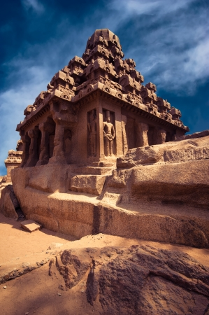 mahabalipuram: Panch Rathas Monolithic Hindu Temple in Mahabalipuram. Great South Indian architecture. South India, Tamil Nadu, Mahabalipuram