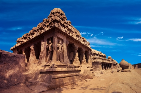 mamallapuram: Panch Rathas Monolithic Hindu Temple in Mahabalipuram. Great South Indian architecture. South India, Tamil Nadu, Mahabalipuram