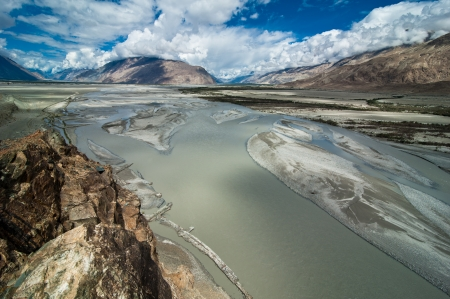 Highland landscape panorama with Shyok river at Nubra Valley.\ Himalaya mountains landscape. India, Ladakh, altitude 3100 m