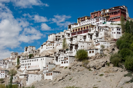 Buddhist heritage, Thiksey monastery ( Gompa ) temple under blue sky. India, Ladakh, Thiksey Monastery photo