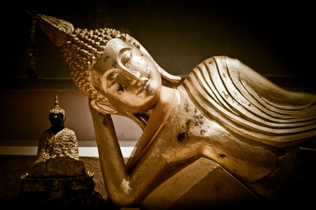 Samui: Golden statue of resting Buddha (Tuesday) in Wat Phra Yai Temple. Koh Samui island, Thailand