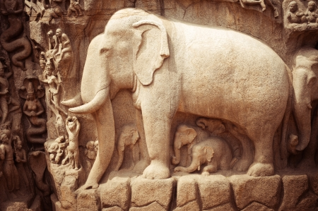 bass relief: Amazing stone bas relief fragment with elephant in Mammallapuram, India, Tamil Nadu Stock Photo