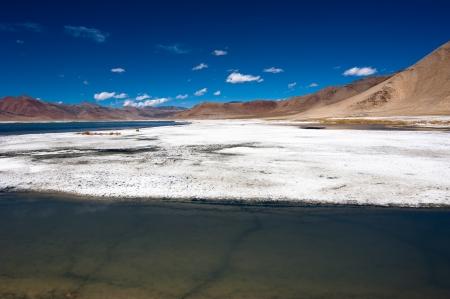 erosion: Himalaya high mountain landscape panorama with salt lake Tso Kar under blue sky  India, Ladakh, altitude 4600 m Stock Photo