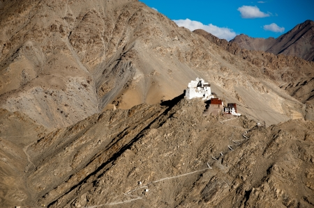 Himalaya mountains landscape with Buddhist monastery Namgyal Tsemo Gompa and fort  in Leh. India, Ladakh photo