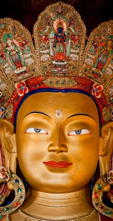 Buddha Maitreya big statue at Buddhist monastery temple. India, Ladakh, Thiksey Gompa photo