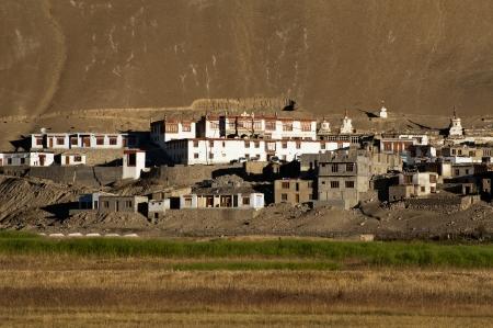 ladakh: Small Tibetan village at sunrise in Himalaya mountains. India, Ladakh, Korzok village and Korzok monastery at Tso Moriri lake, altitude 4600 m Stock Photo