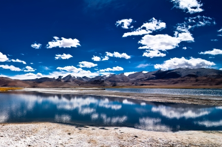 Himalaya high mountain landscape panorama with salt lake Tso Kar under blue sky. India, Ladakh, altitude 4600 m