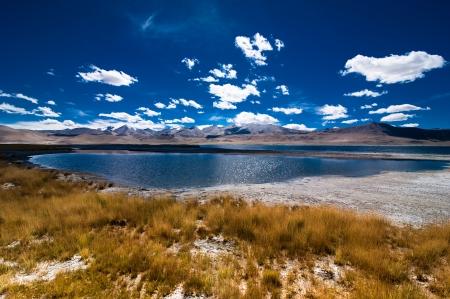 ladakh: Himalaya high mountain landscape panorama with salt lake Tso Kar under blue sky. India, Ladakh, altitude 4600 m