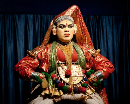 THEKKADY , INDIA - FEBRUARY 19   Indian actor performing traditional dance drama Kathakali on February 19, 2013 at Mudra Center  Actor performs Subhadra  minukku  character of Ramayana  India, Kerala