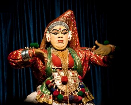 kathakali: THEKKADY , INDIA - FEBRUARY 19   Indian actor performing traditional dance drama Kathakali on February 19, 2013 at Mudra Center  Actor performs Subhadra  minukku  character of Ramayana  India, Kerala Editorial