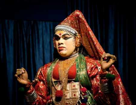 THEKKADY , INDIA - FEBRUARY 19 : Indian actor performing traditional dance drama Kathakali on February 19, 2013 at Mudra Center. Actor performs Subhadra (minukku) character of Ramayana. India, Kerala