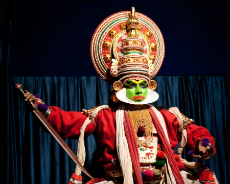 kathakali: THEKKADY , INDIA - FEBRUARY 19   Indian actor performing traditional dance drama Kathakali on February 19, 2013 at Mudra Center  Actor performs Arjuna  pacha  character of Ramayana  India, Kerala Editorial