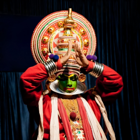 THEKKADY , INDIA - FEBRUARY 19   Indian actor performing traditional dance drama Kathakali on February 19, 2013 at Mudra Center  Actor performs Arjuna  pacha  character of Ramayana  India, Kerala