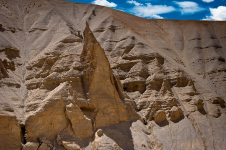 Himalaya mountains landscape. Rock and Sand formation at Pang. India, Ladakh, Sarchu Plain, Manali-Leh highway view, altitude 4300 m photo
