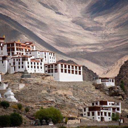 ladakh: Buddhist heritage, Likir monastery ( Gompa ) over Himalaya mountains. India, Ladakh, Likir Gompa