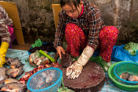 SIEM REAP, CAMBODIA - DEC 22, 2013: Unidentified Khmer woman cleaning and selling fish at food marketplace on Dec 22, 2013 in Siem Reap, Cambodia. Street food markets is popular tradition in asia