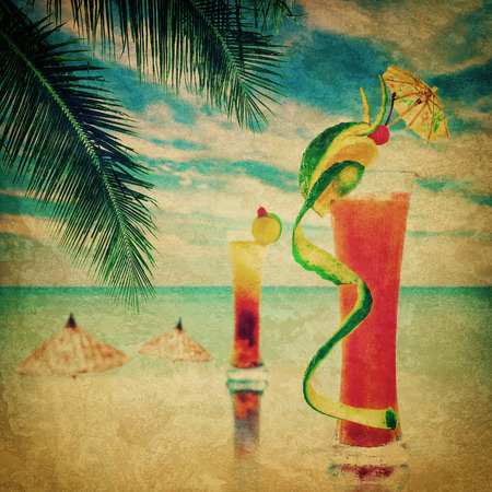 Cocktail party invitation in vintage style. Grunge texture with two alcohol cocktails served at bar on tropical ocean beach photo