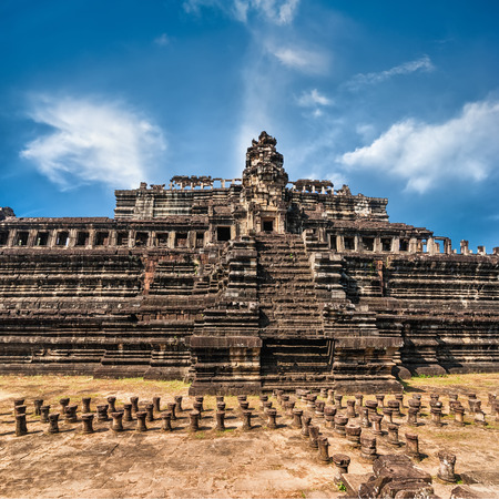 angkor wat: Ancient Khmer architecture. Panorama view of Baphuon temple at Angkor Wat complex, Siem Reap, Cambodia