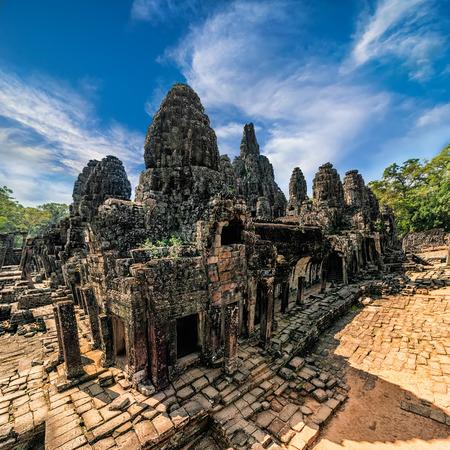 angkor wat: Ancient Khmer architecture. Panorama view of Bayon temple at Angkor Wat complex, Siem Reap, Cambodia