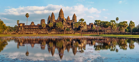 Ancient Khmer architecture. Panorama view of Angkor Wat temple at sunset. Siem Reap, Cambodia Stock Photo