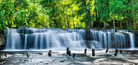 Tropical rainforest landscape with flowing blue water of Kulen waterfall in Cambodia Stok Fotoğraf - 28113565
