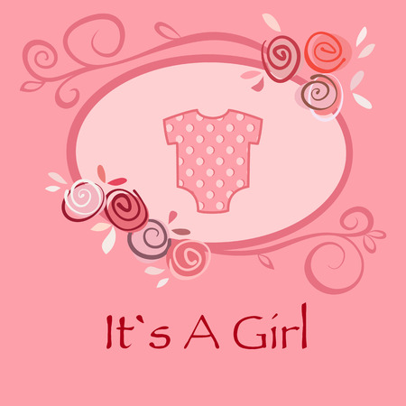 Baby girl greeting and announcement postcard with pink suit for newborns and floral frame. Vector