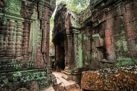 angkor wat: Ancient Khmer architecture. Ta Prohm temple with giant banyan tree at Angkor Wat complex, Siem Reap, Cambodia. Two images panorama