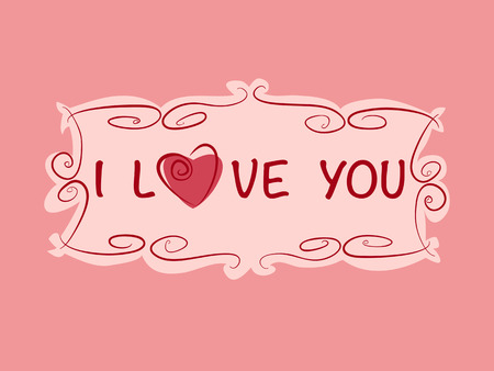 post card: Romantic gift card with heart and love text in vintage style. Vector wedding, birthday or valentine post card illustration