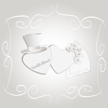 tophat: Romantic vintage style wedding invitation post card with heart couple as bride and groom