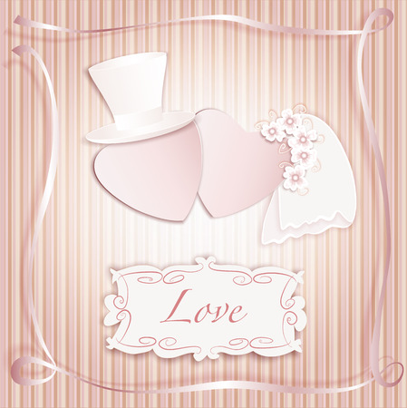 silk hat: Romantic vintage style wedding invitation post card with heart couple as bride and groom and copy space for text.