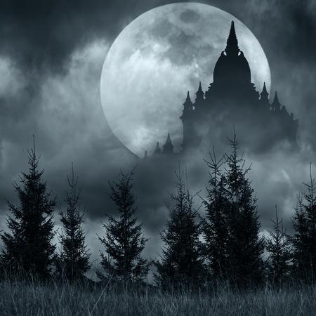 神秘的な夜の満月、劇的な曇り空の下で松の木の森とファンタジー背景の魔法の城のシルエット