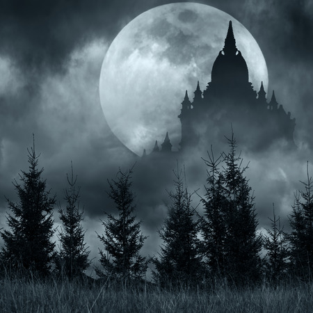 Magic castle silhouette over full moon at mysterious night, Fantasy background with pine tree forest under dramatic cloudy sky