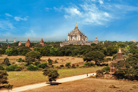 Travel landscapes and destinations. Amazing architecture of\ old Buddhist Temples at Bagan Kingdom, Myanmar (Burma)