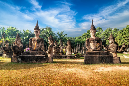 Amazing view of mythology and religious statues at Wat Xieng Khuan Buddha park. Vientiane, Laos 版權商用圖片