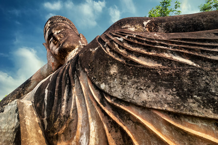 vientiane: Amazing view of mythology and religious statues at Wat Xieng Khuan Buddha park. Vientiane, Laos Stock Photo