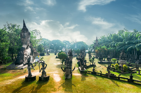 vientiane: Amazing panorama view of mythology and religious statues at Wat Xieng Khuan Buddha park. Vientiane, Laos