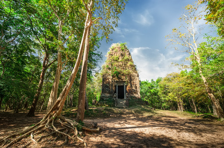 Ancient Khmer pre Angkor architecture. Sambor Prei Kuk temple ruins with giant banyan trees under blue sky. Kampong Thom, Cambodia travel destinations