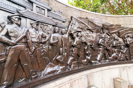 HO CHI MINH, VIETNAM - JAN 21, 2014: Thich Quan Duc memorial monument. Buddhist monk commits self-immolation in protest against Buddhism persecution by Vietnamese government in Saigon on 11 June 1963
