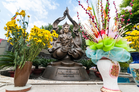 persecution: HO CHI MINH, VIETNAM - JAN 21, 2014: Thich Quan Duc memorial monument. Buddhist monk commits self-immolation in protest against Buddhism persecution by Vietnamese government in Saigon on 11 June 1963