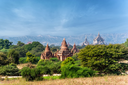 heritage site: Travel landscapes and destinations. Amazing architecture of old Buddhist Temples at Bagan Kingdom, Myanmar (Burma) Stock Photo