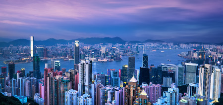 victoria harbor: Aerial view panorama of Hong Kong skyline and Victoria Harbor at sunset. Travel destinations
