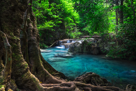 Jangle landscape with flowing turquoise water of Erawan cascade waterfall at deep tropical rain forest. National Park Kanchanaburi, Thailand
