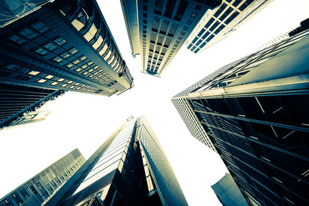 Abstract futuristic cityscape view with modern skyscrapers. Hong Kong