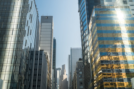 city building: Abstract futuristic cityscape view with modern skyscrapers. Hong Kong