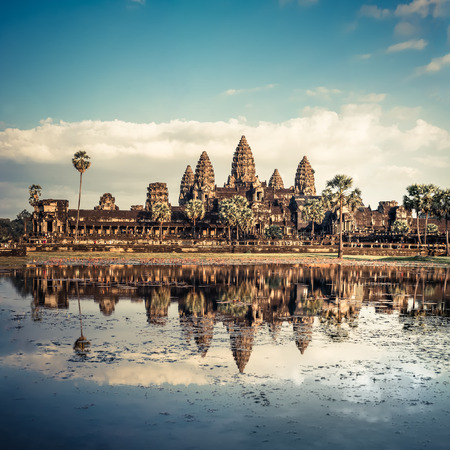 Ancient Khmer architecture. Panorama view of Angkor Wat temple under blue sky. Siem Reap, Cambodia