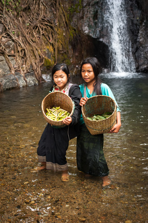 pobreza: VANG VIENG, LAOS - 15 DEC, 2013: Unidentified cute Asian girls with baskets washing vegetables in rain forest river near tropical waterfall